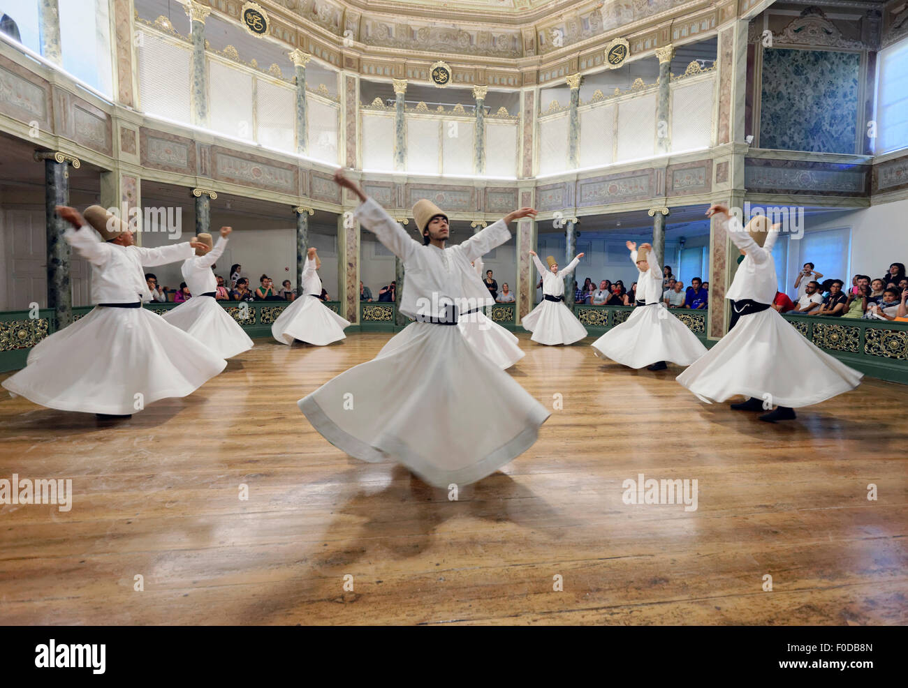 Whirling Dervishes, dervish Sema dance, Mevlevihanesi Müzesi, Istiklal Caddesi, Istanbul, European side, Turkey - Stock Image
