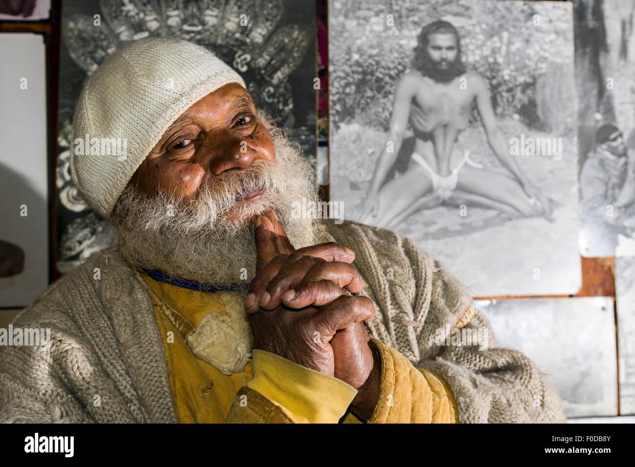A portrait of Swami Sundaranand, a famous Sadhu, yogi and photographer, Gangotri, Uttarakhand, India Stock Photo