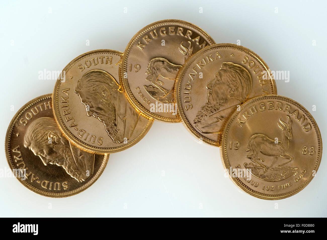 Kruegerrand-Goldmuenzen; Stock Photo