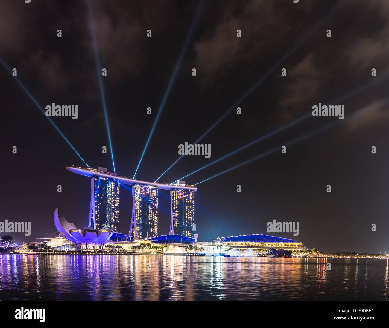 Laser show at the Marina Bay Sands Hotel, Singapore - Stock Image