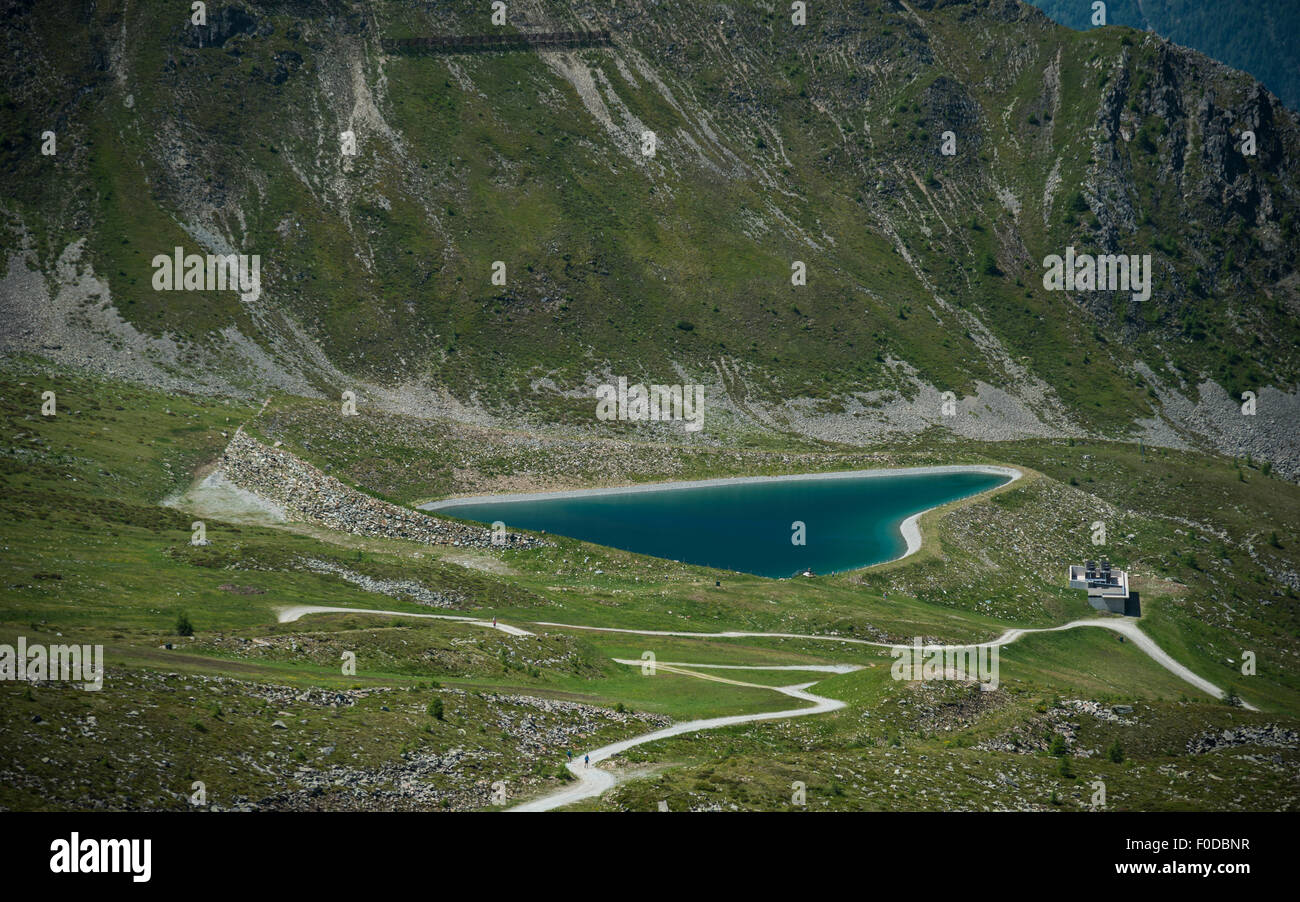 Reservoir in the shape of a heart, Goldried, High Tauern National Park, Matrei, East Tyrol, Tyrol, Austria - Stock Image