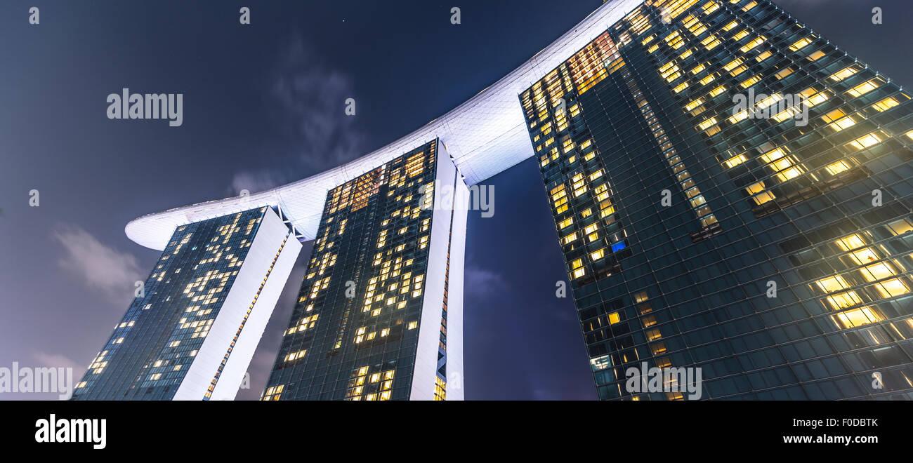 Marina Bay Sands Hotel at night, Singapore - Stock Image