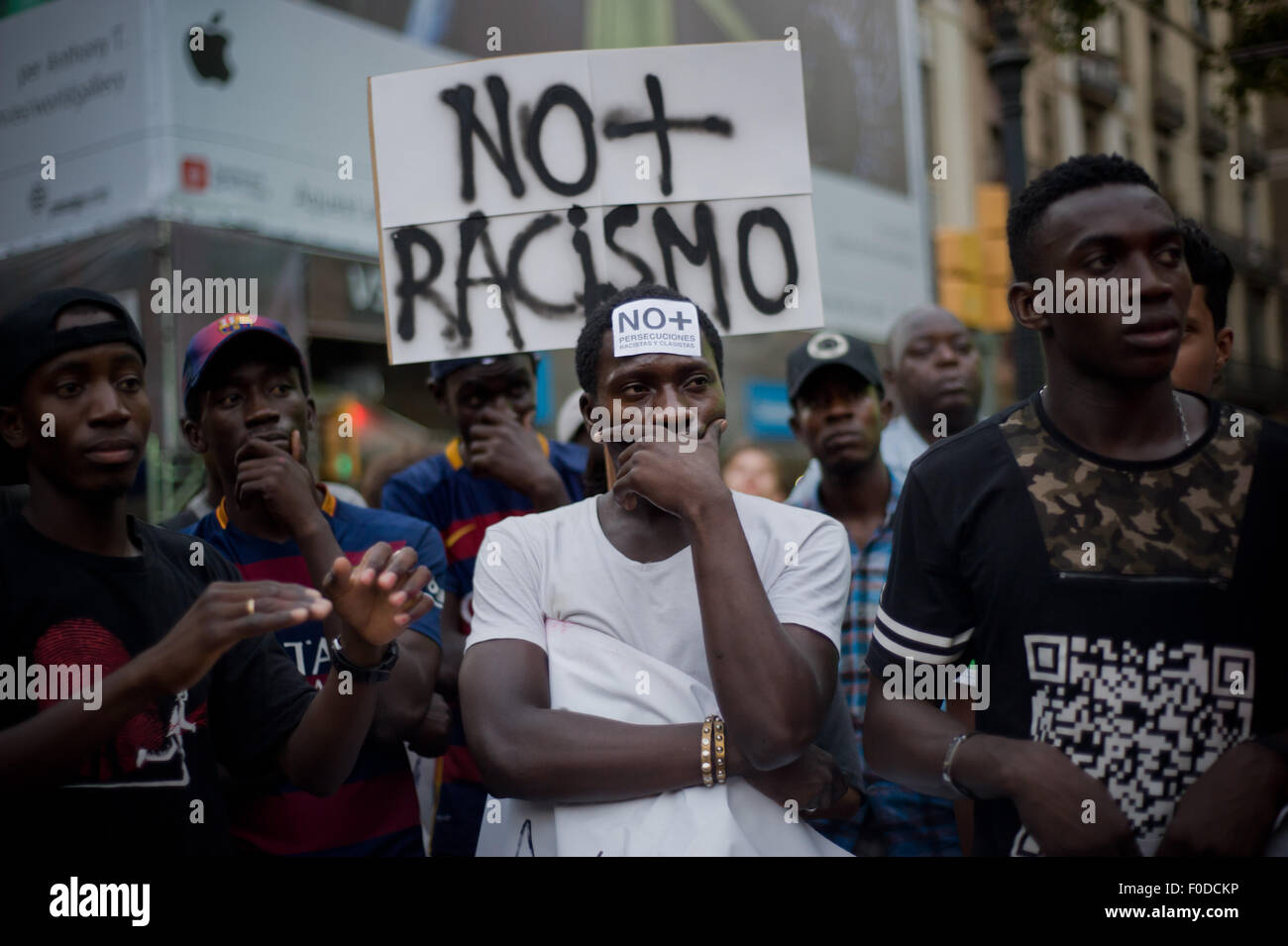 Demonstrators during a march against racism and police in Barcelona (Spain) on 11 August 2015. - Stock Image