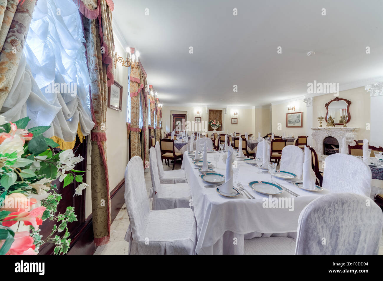 The interior of the restaurant of Russian cuisine 'Demidov'. The restaurant is located on the Fontanka River - Stock Image