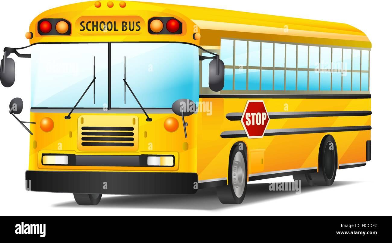 school bus on white. vector illustration - Stock Vector