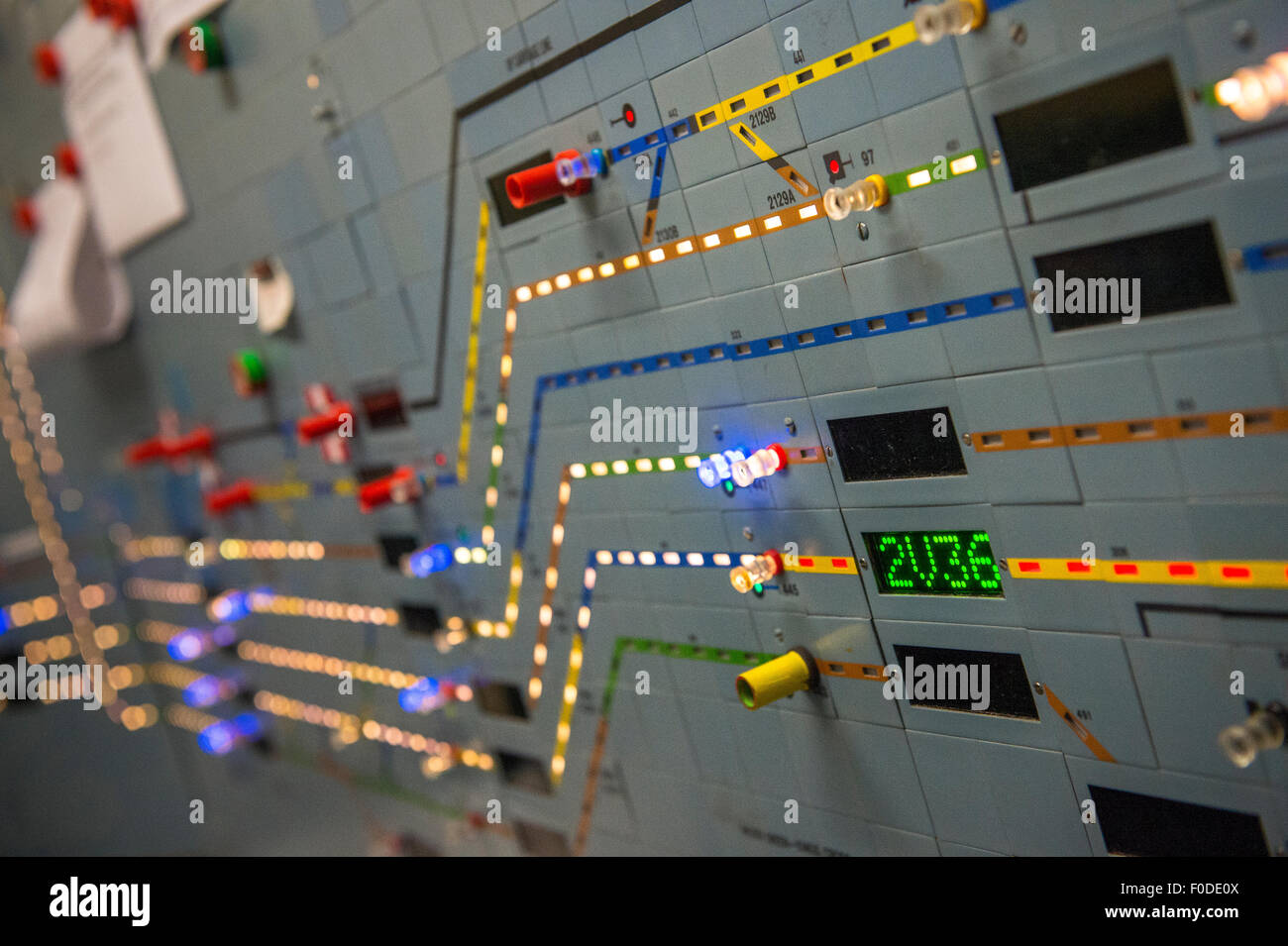 Electronic display board at a railway signalling centre in England. - Stock Image