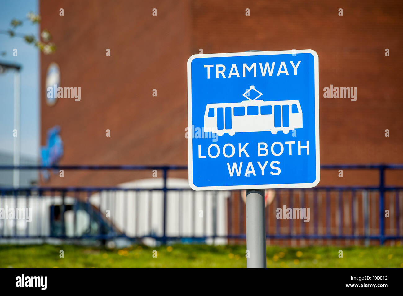 Sign on the Midland Metro tram tram system, West Midlands, England. - Stock Image