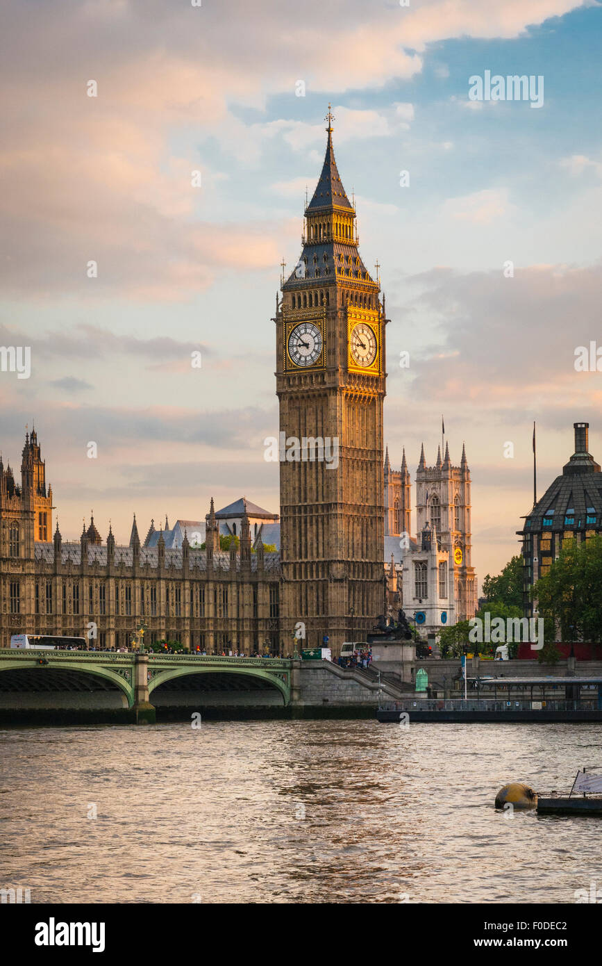 London Southbank Palace Of Westminster Big Ben Elizabeth Tower previously Clock or St Stephens Tower Cathedral Bridge Stock Photo