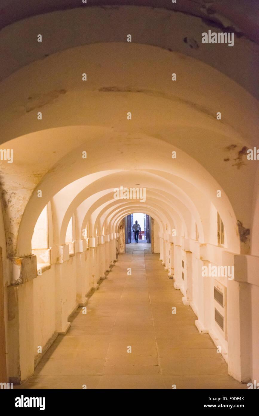 London Southbank University of Greenwich underground Ripley Tunnel / Chalk Walk corridor linking the Chapel & - Stock Image