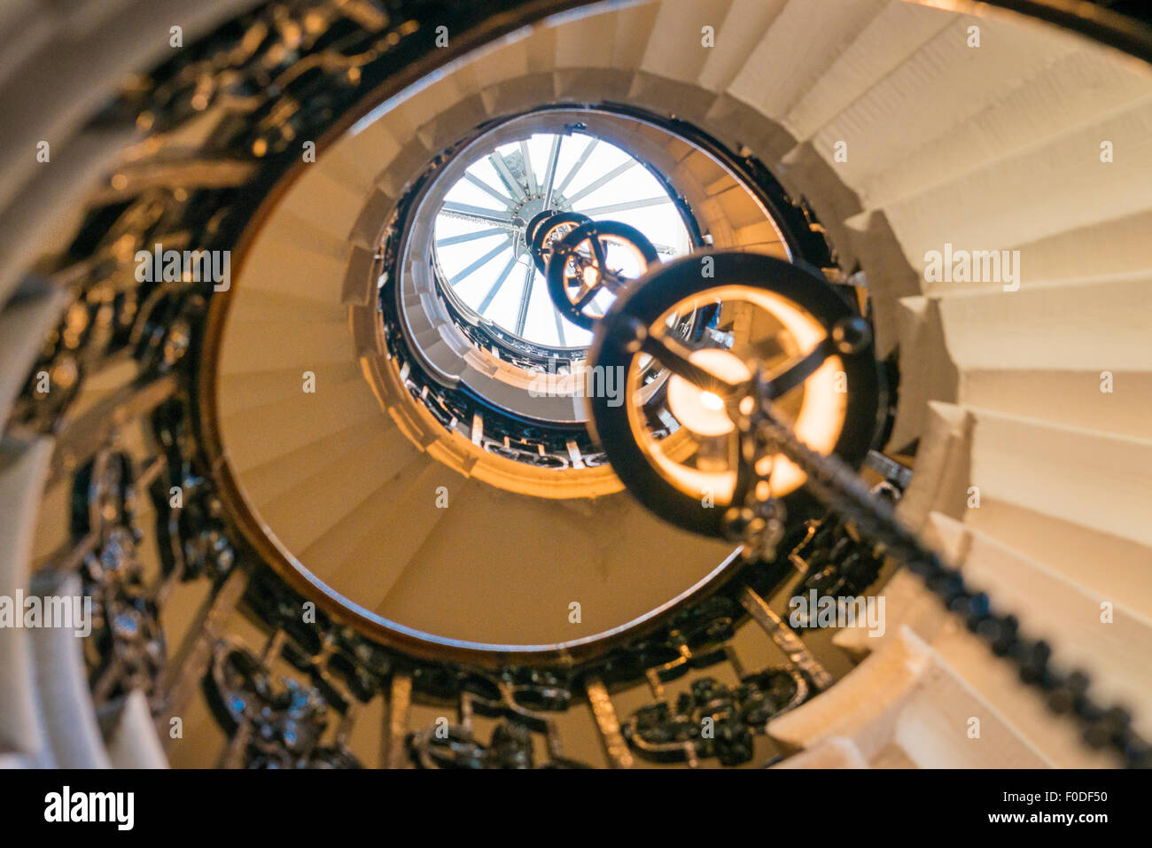 London Southbank Greenwich Maritime Royal Naval College neo classical Chapel spiral helical staircase centre lights Stock Photo