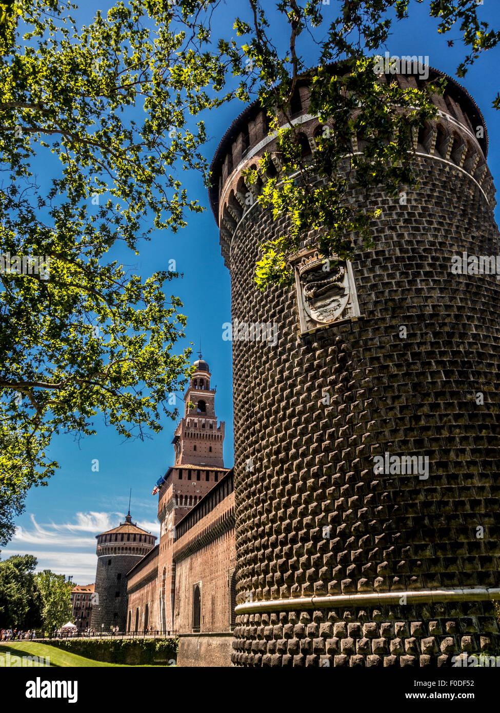 The Round Tower, Castello Sforzesco, Milan, Italy - Stock Image