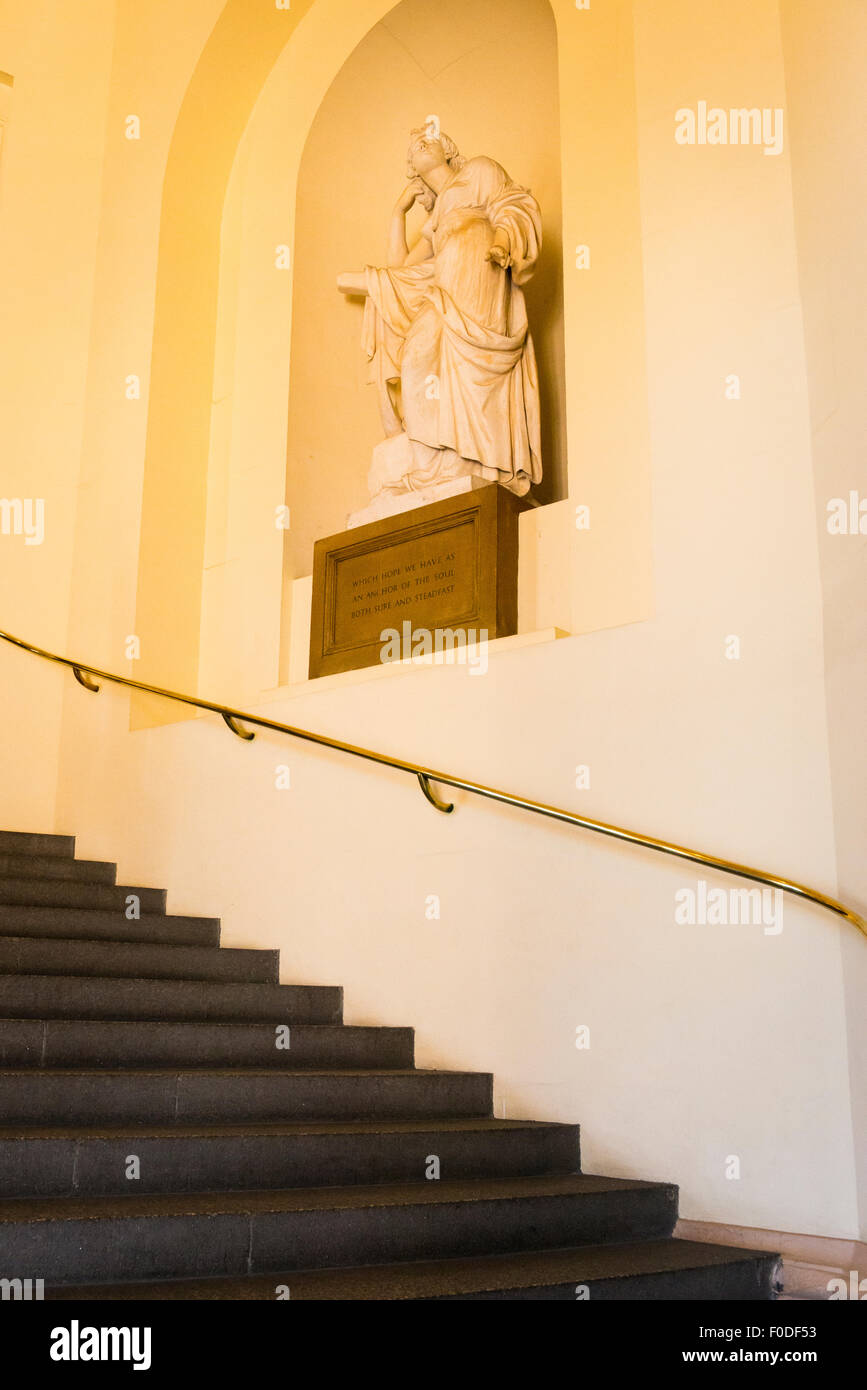 London Southbank Greenwich Maritime Royal Naval College neo classical Chapel interior entrance stairs staircase Stock Photo