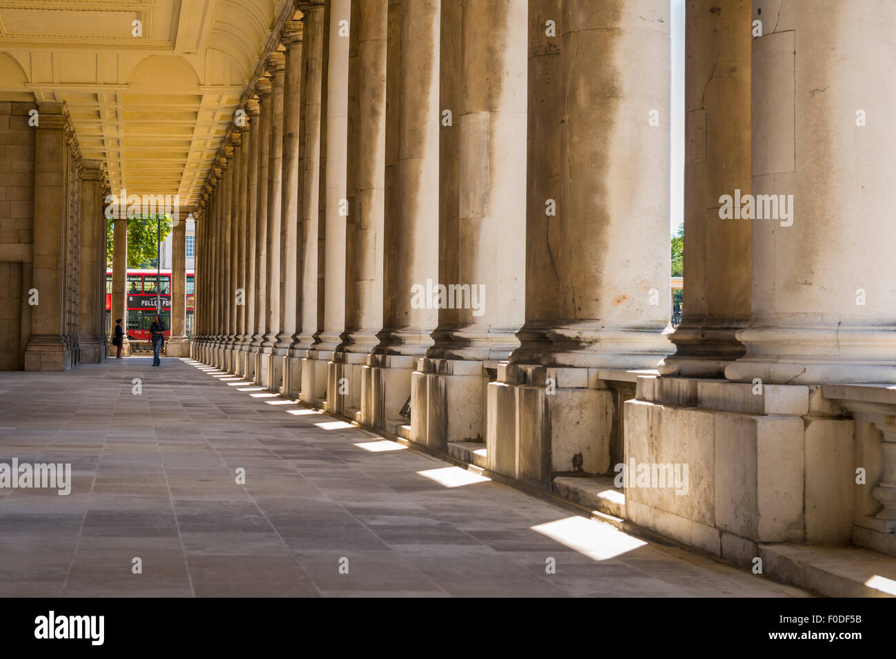 London Southbank Greenwich Maritime Royal Naval College neo classical Chapel detail colonnade pillars pillar column - Stock Image