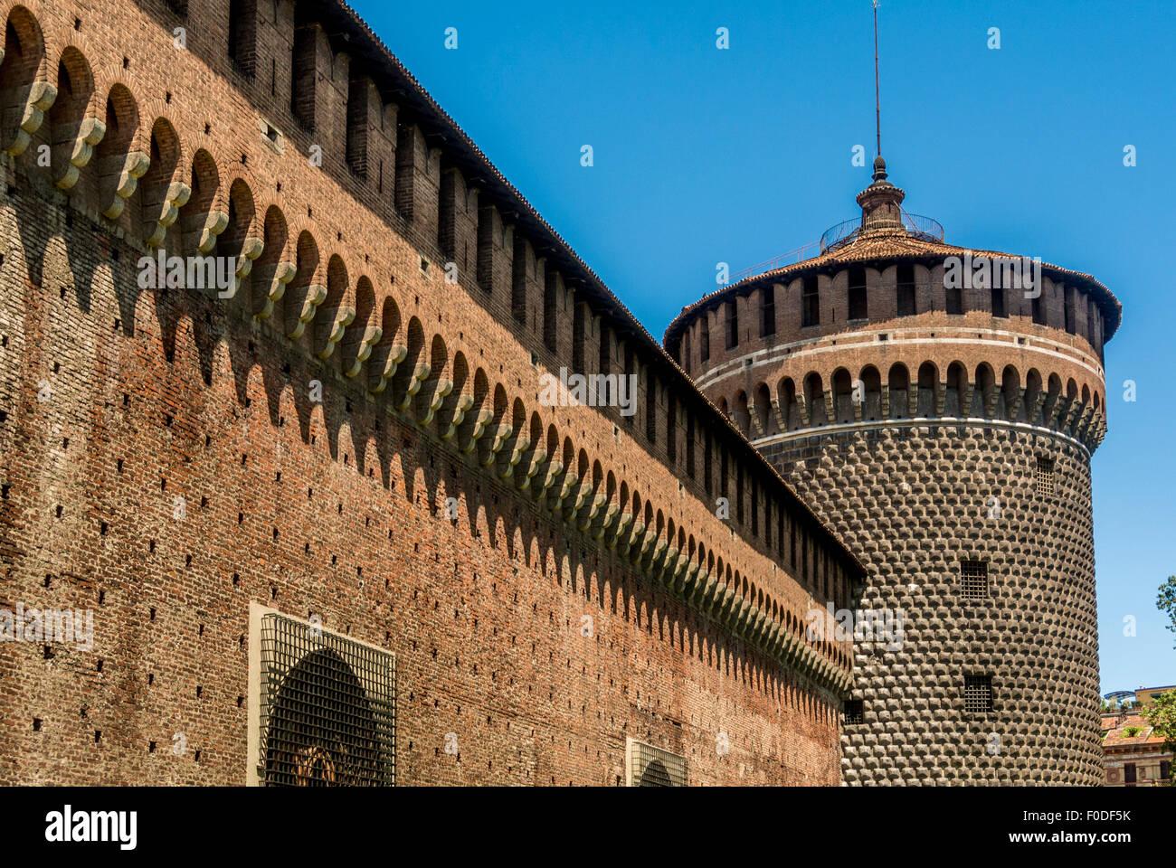 Sforza Castle, Castello Sforzesco. Milan Italy - Stock Image