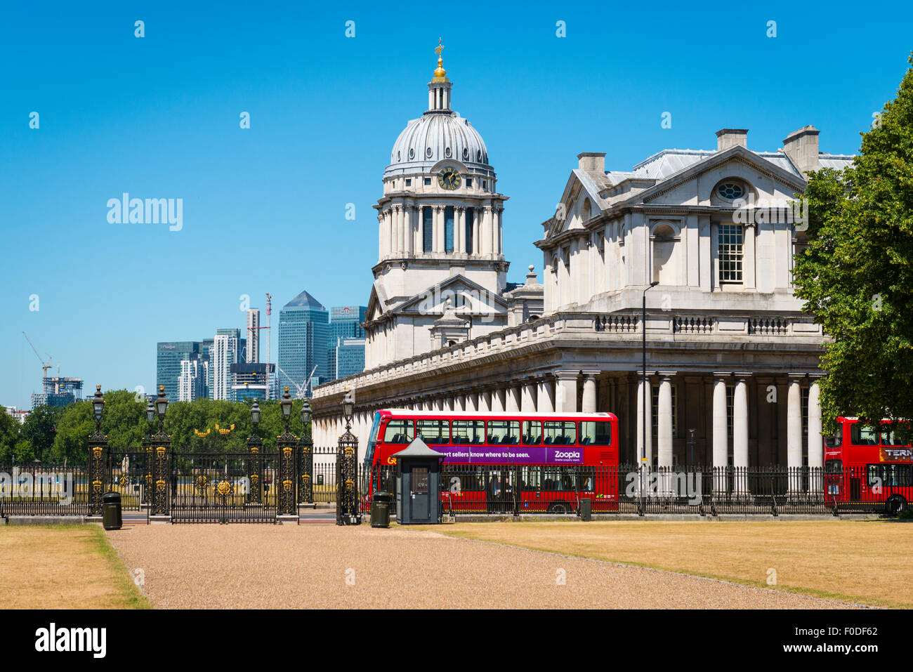 London Southbank Greenwich Maritime Royal Naval College neo classical University red double decker bus from The Stock Photo