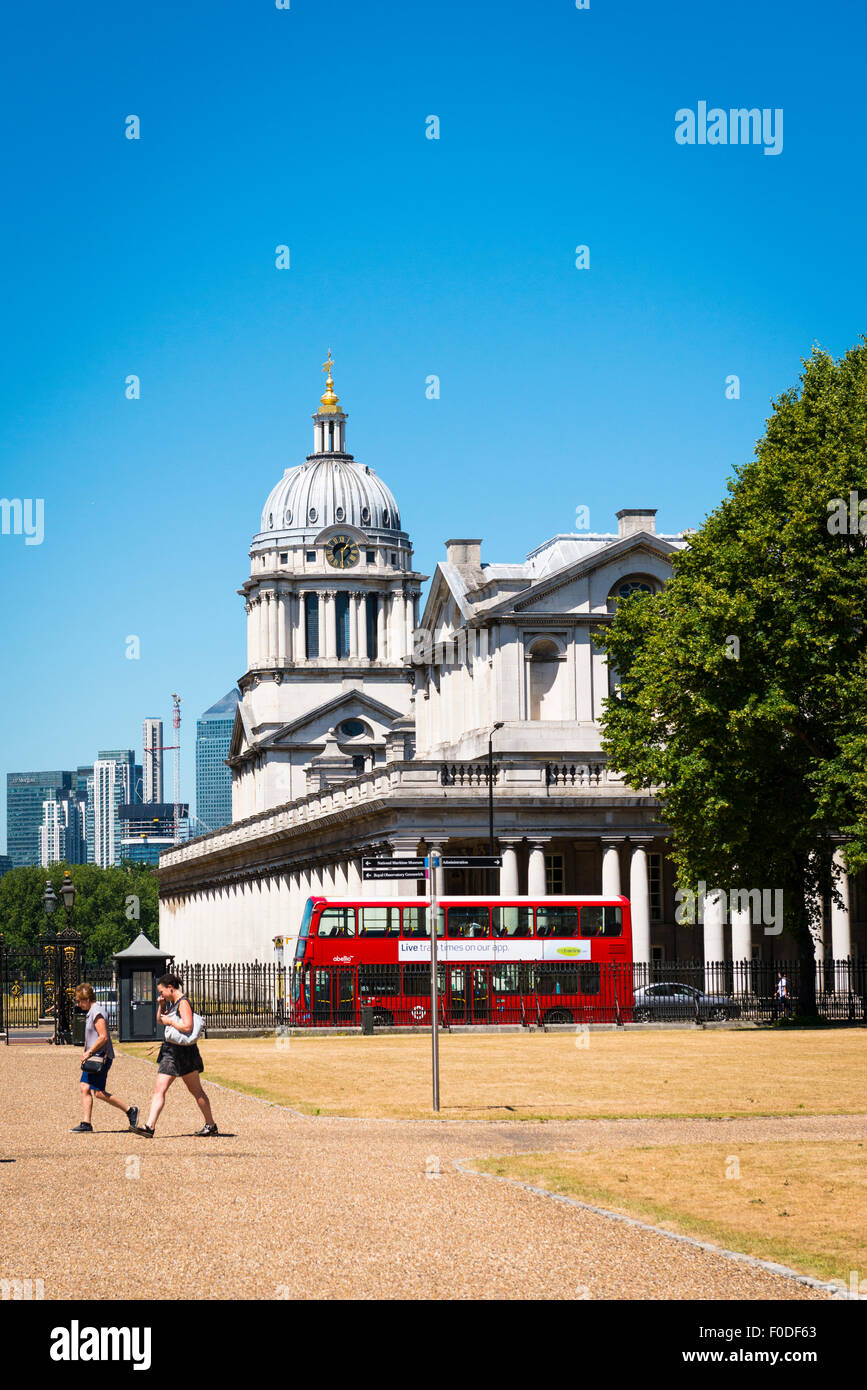 London Southbank Greenwich Maritime Royal Naval College neo classical Chapel red double decker bus aspect from The - Stock Image