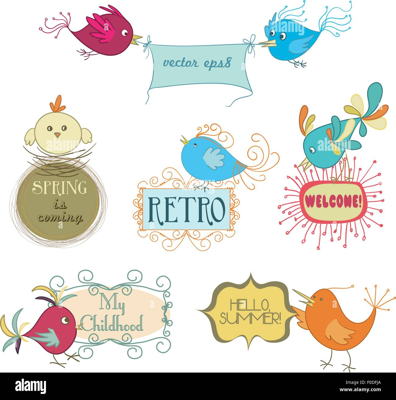 set of cute childish birds and stylish frames with slogans. vector ...
