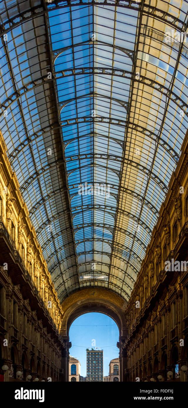 Glass roof of Galleria Vittorio Emanuele II. - Stock Image