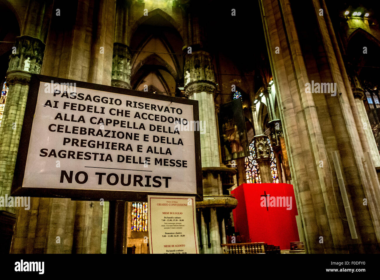 No Tourist sign, Milan Cathedral - Stock Image