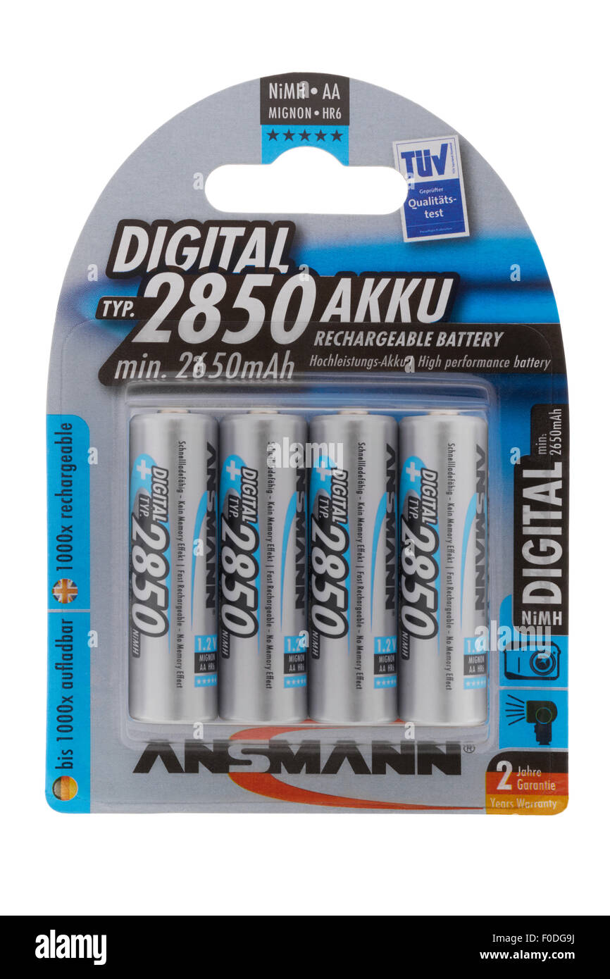 Packet of Ansmann AA NiMH rechargeable batteries on white background - Stock Image