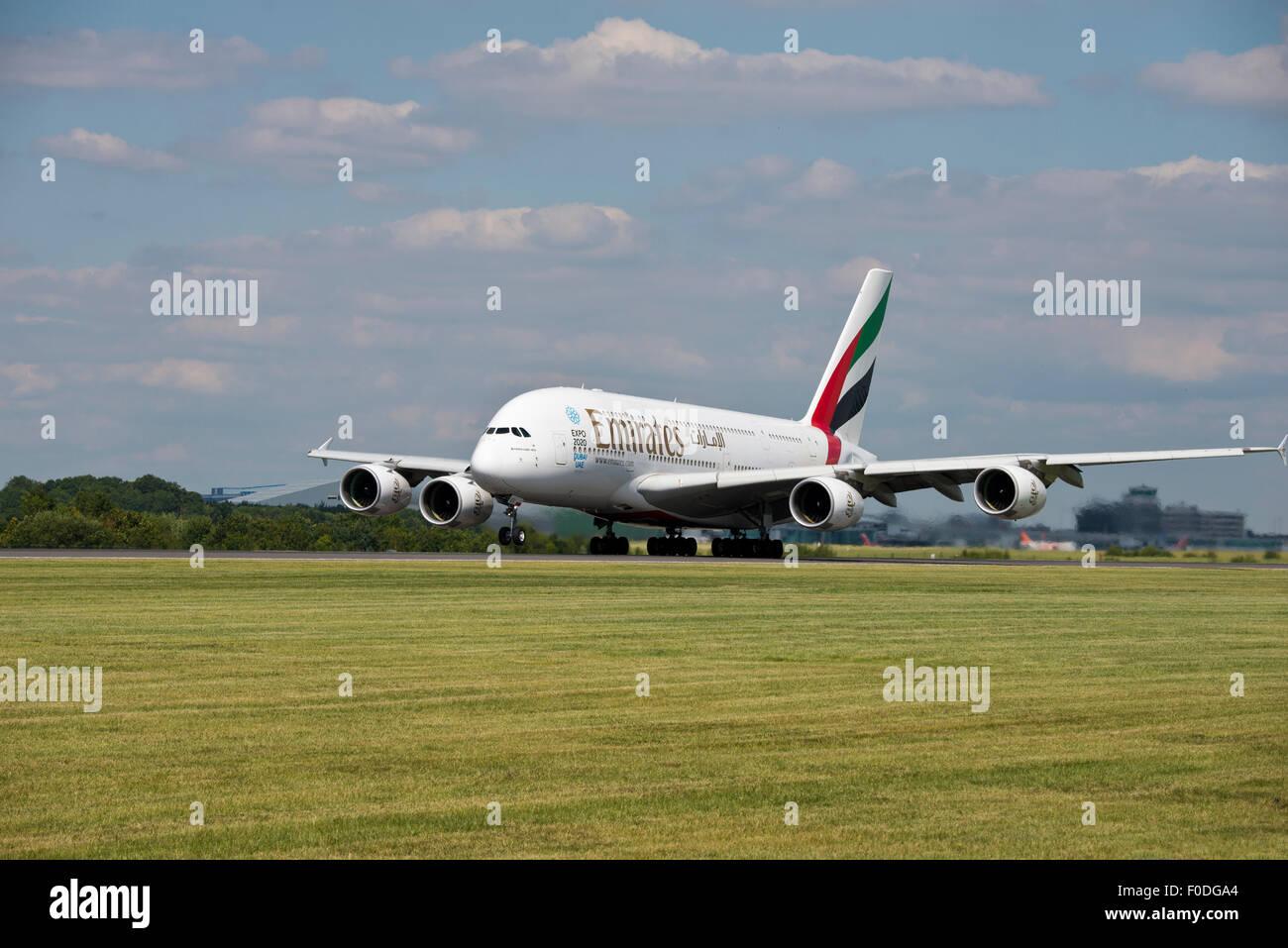 A380 EXPO 2020 Emirates Dubai UAE Manchester Airport England Uk Departure - Stock Image