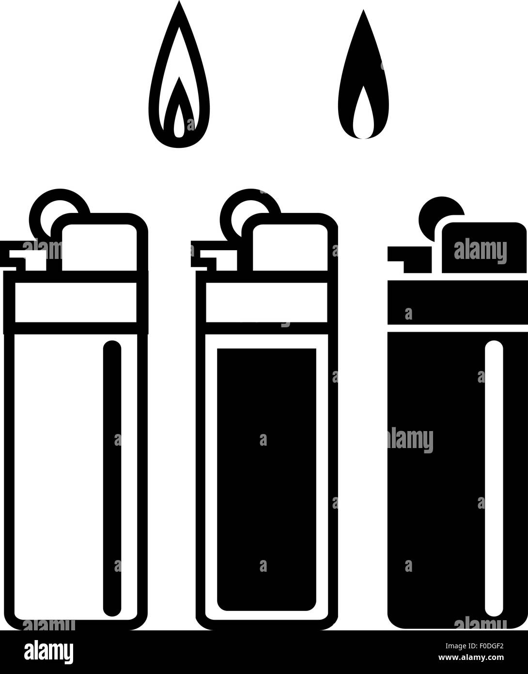 Long Lighters icon in linear and silhouette style, vector - Stock Image