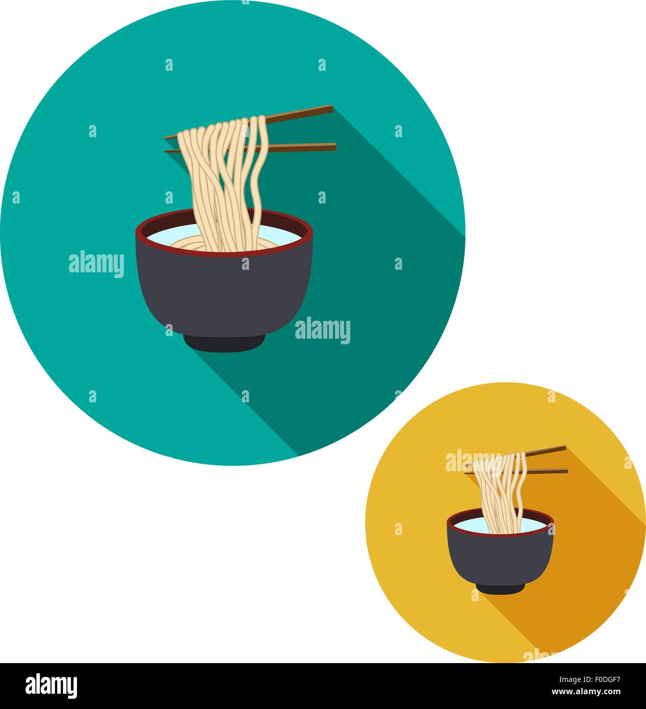 Set Of Noodle In Soup Bowl Are Holding With Chopsticks In Flat Icon Stock Vector Image Art Alamy