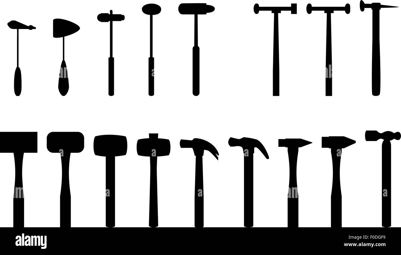 Set of reflex hammer and home hammer in silhouette icon Stock Vector