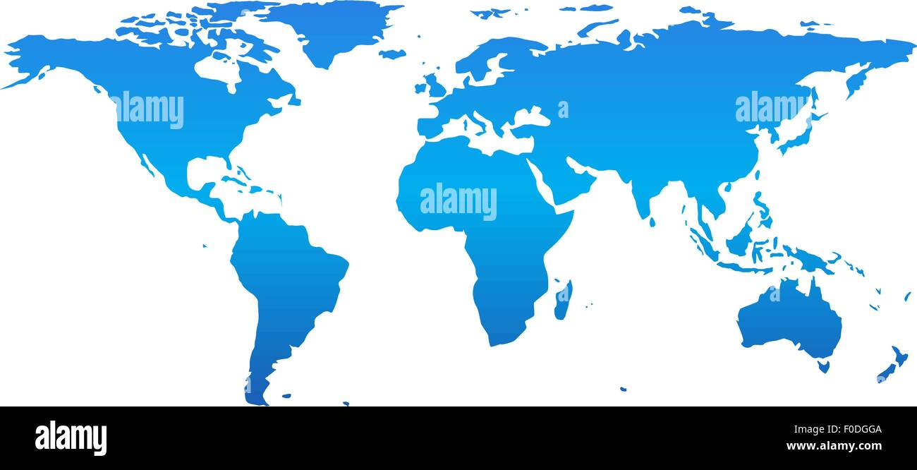 Detail world map, isolated on white background, vector - Stock Image