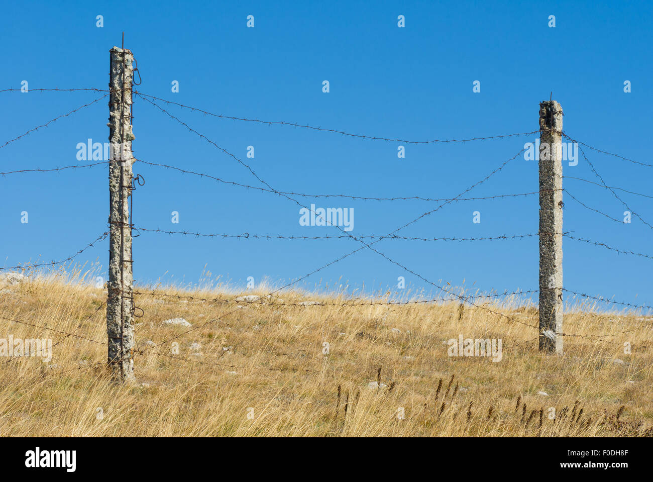 Barrier with barbed wire against blue cloudless sky - Stock Image