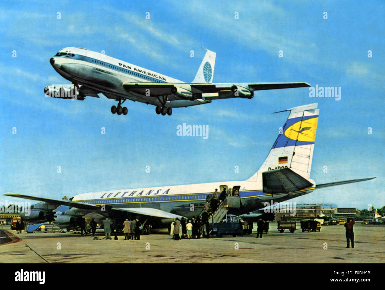 geography / travel, Germany, Frankfurt, building, Rhein-Main Airport, picture postcard, circa 1964, 20th century, - Stock Image
