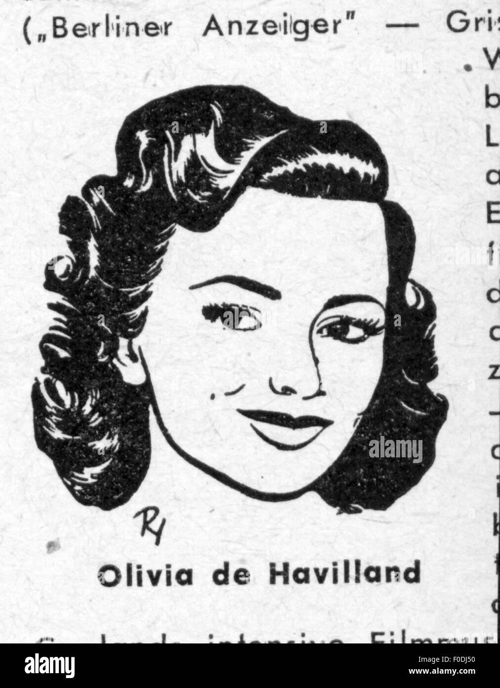 Havilland, Olivia de, * 1.7.1916, American actress, portrait, drawing by Centfox-Hofmann, circa 1949, Additional - Stock Image