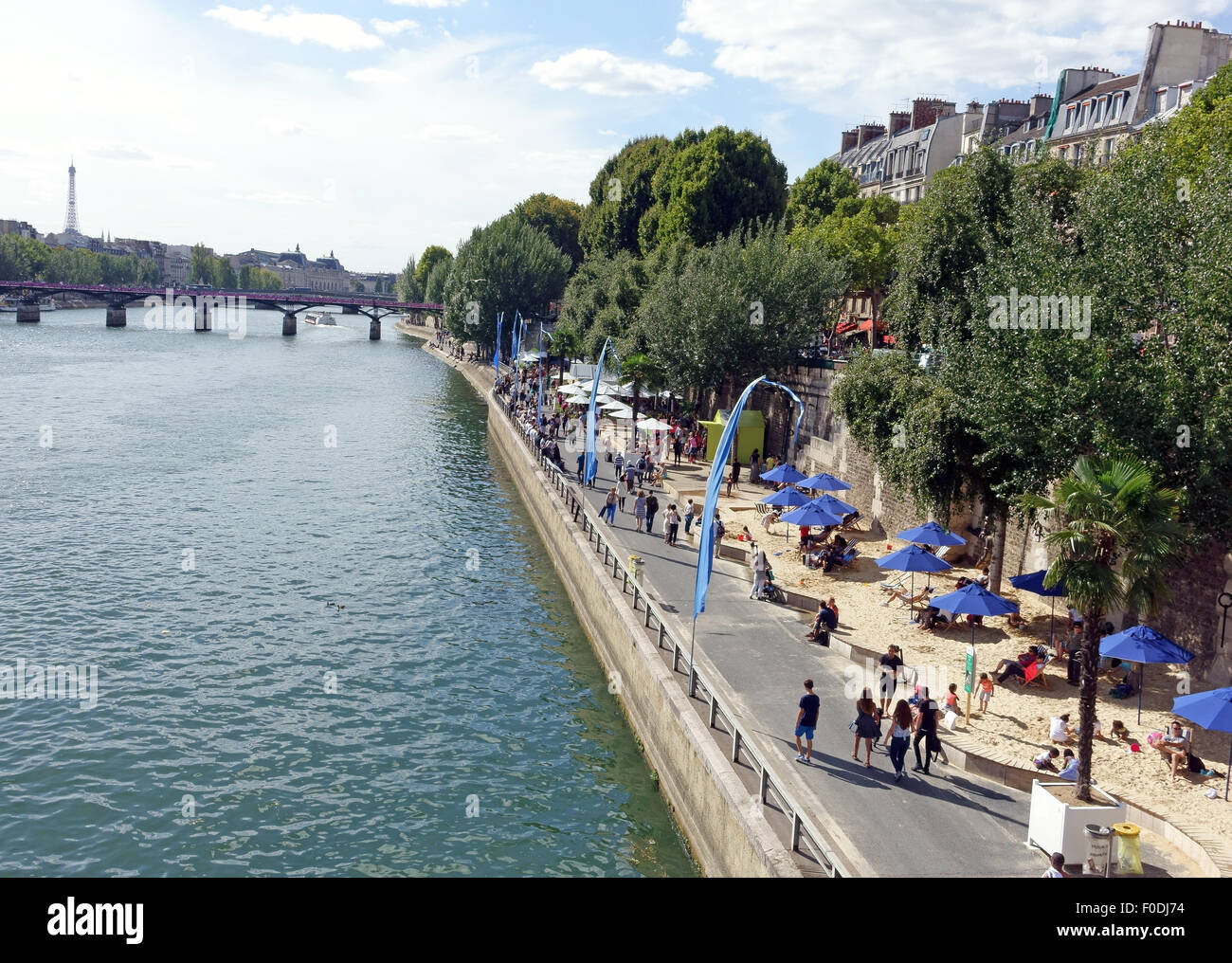 Artificial beach for summer along banks of River Seine in Paris, France Stock Photo