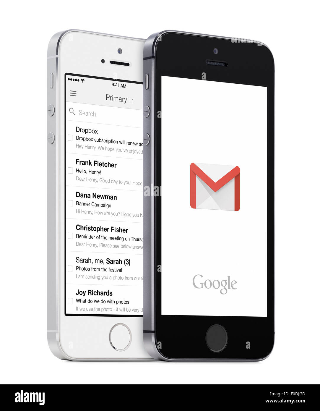 Varna, Bulgaria - May 26, 2015: Google Gmail app logo and Gmail inbox on the white and black Apple iPhones. - Stock Image