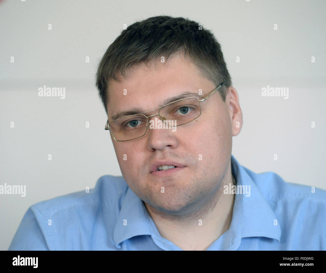 Prague, Czech Republic. 13th Aug, 2015. Igor Kulik, head of Ukrainian Archive that keeps documents of former Soviet - Stock Image