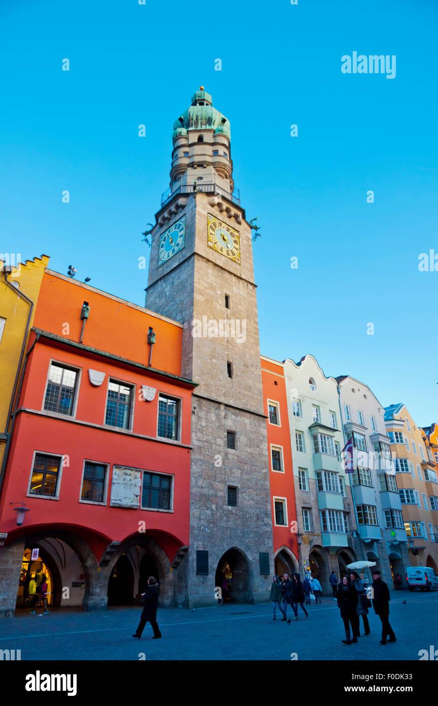 Stadtturm, city tower, Herzog-Friedrich-Strasse, Altstadt, old town, Innsbruck, Tyrol, Austria - Stock Image