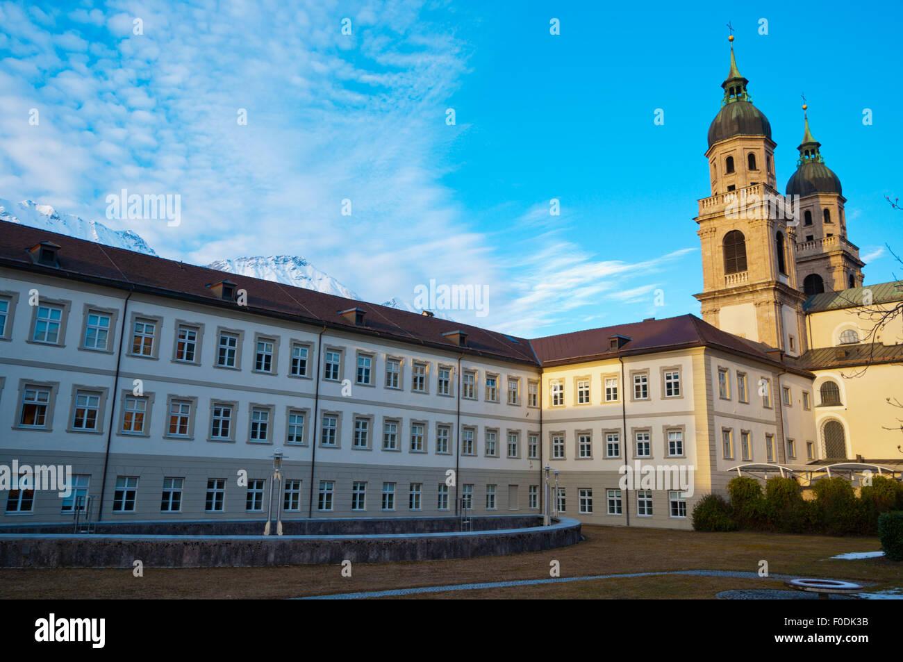 Jesuitenkirche, Jesuit church, and University Theological department buildigns, Altstadt, old town, Innsbruck, Austria - Stock Image