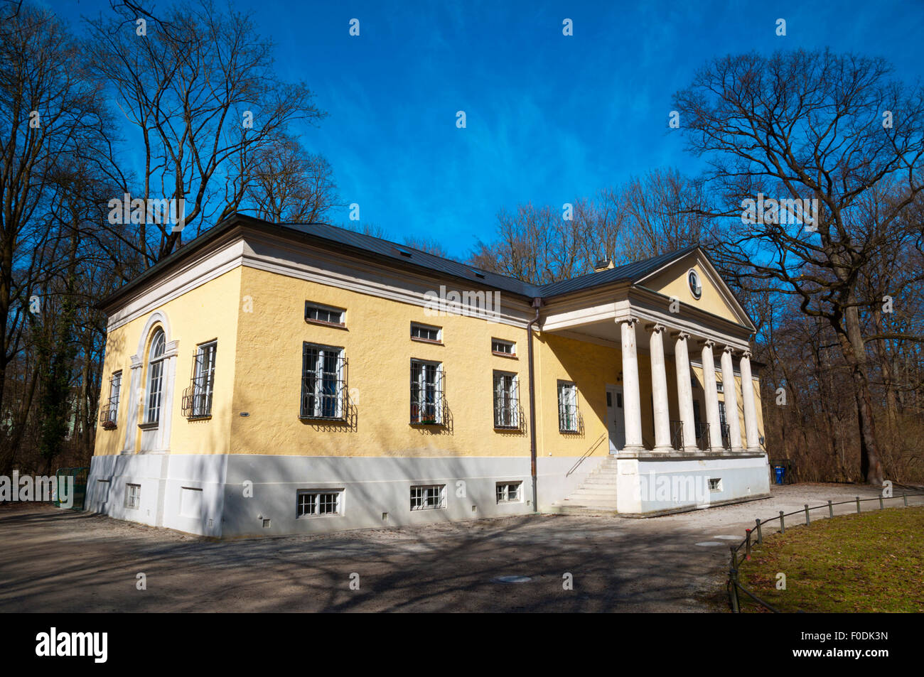 Rumford-Saal (1791), building in Palladian style, Englischer Garten, park, central Munich, Bavaria, Germany - Stock Image