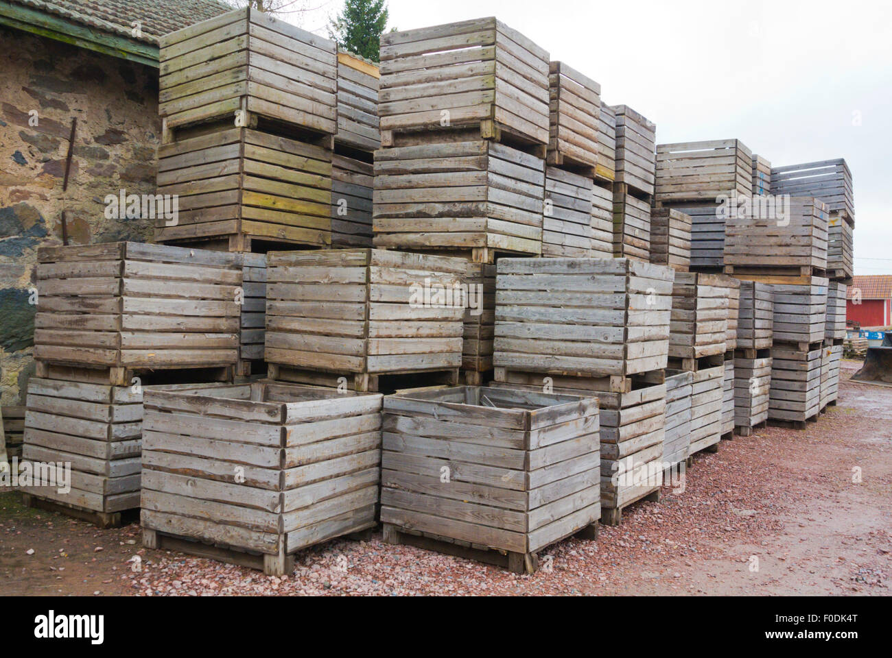 Wooden potato containers, a farm, western Finland - Stock Image