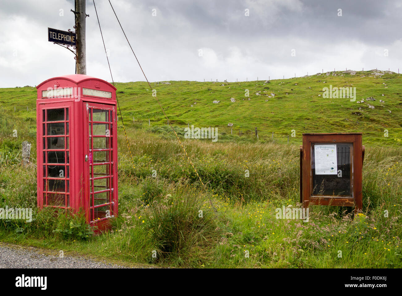Old Telephone Kiosk at Marvig Village Isle of Lewis Western Isles Outer Hebrides Scotland UK - Stock Image