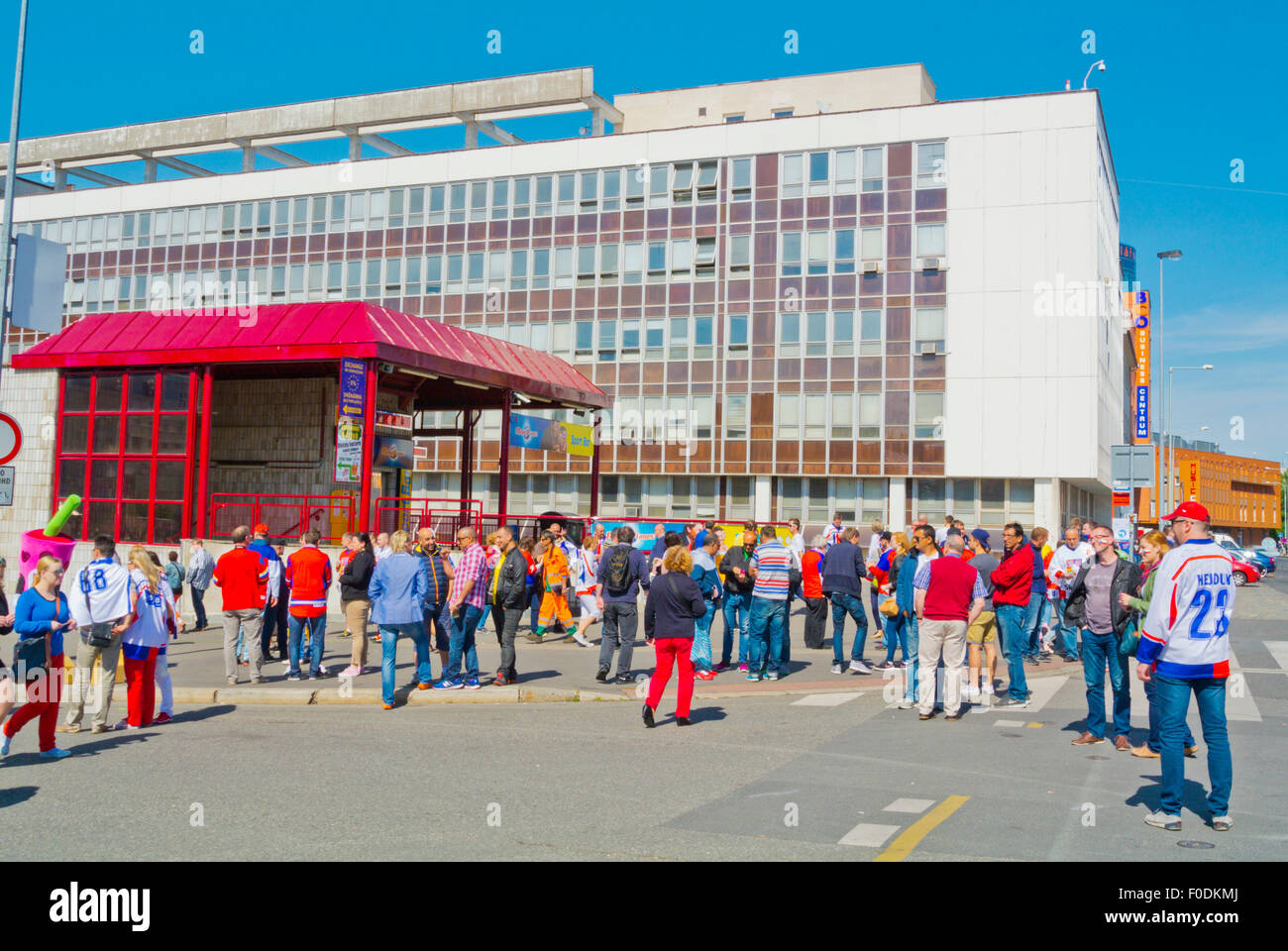 Fans outside metro station, during 2015 Ice Hockey World Championships, Ceskomoravska, Prague, Czech Republic, Europe - Stock Image
