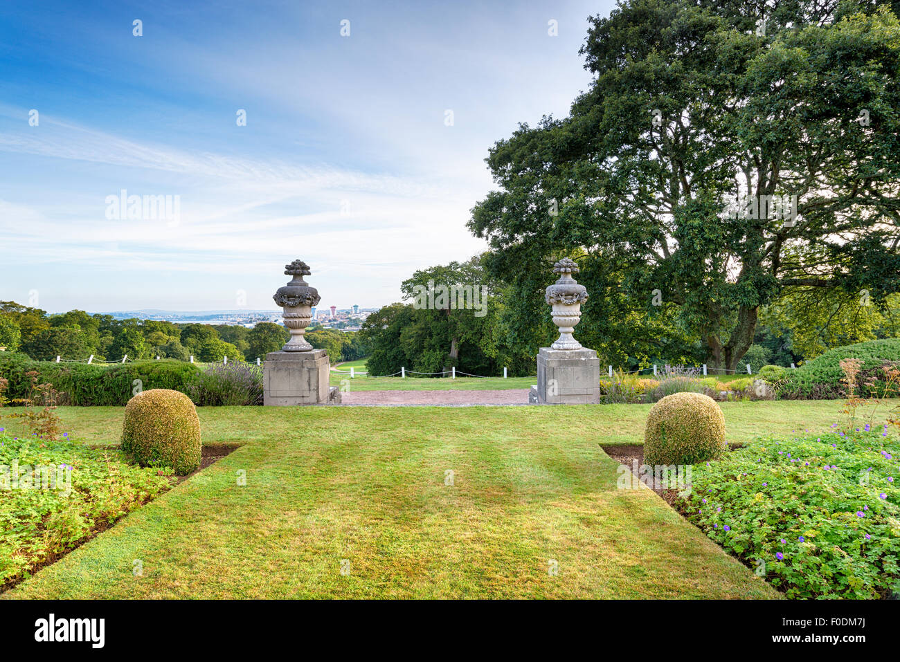 Formal gardens in a stately home - Stock Image
