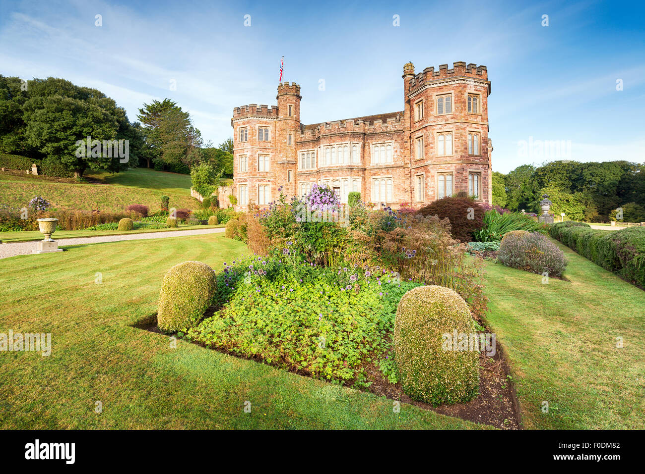 An English stately home with formal gardens at Mount Edgcumbe in Cornwall - Stock Image