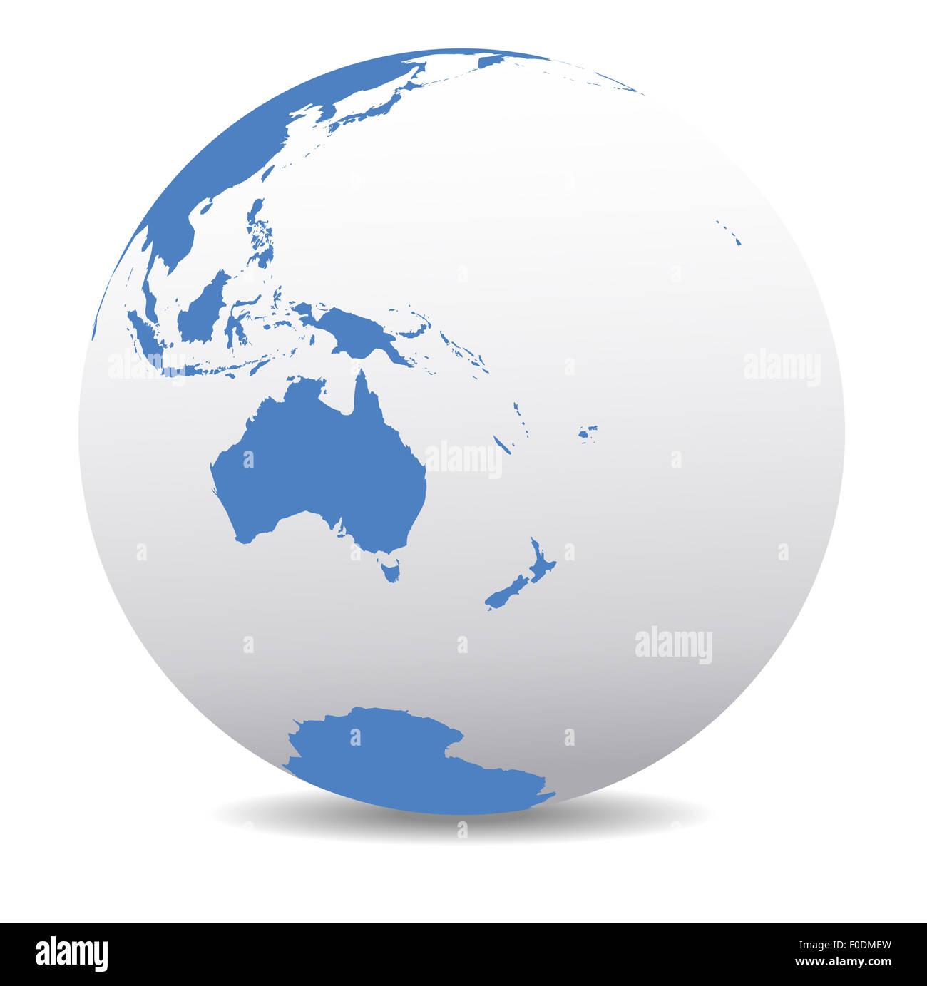 Map Of Australia New Zealand And Papua New Guinea.World Globe Australia New Zealand Papua New Guinea Stock Photo