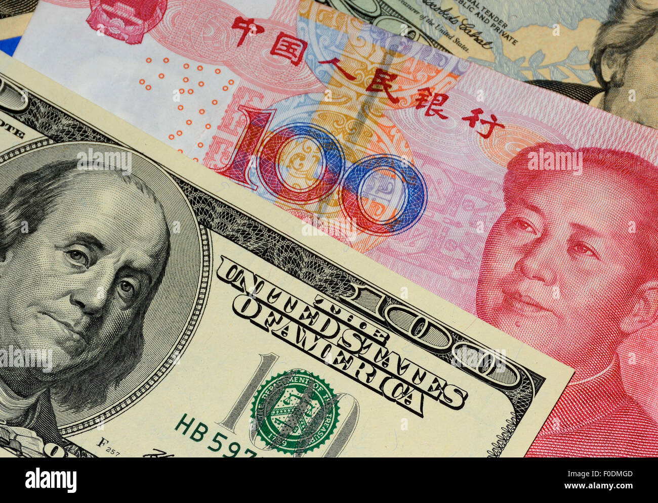 chinese Yuan and U.S. dollar notes Stock Photo
