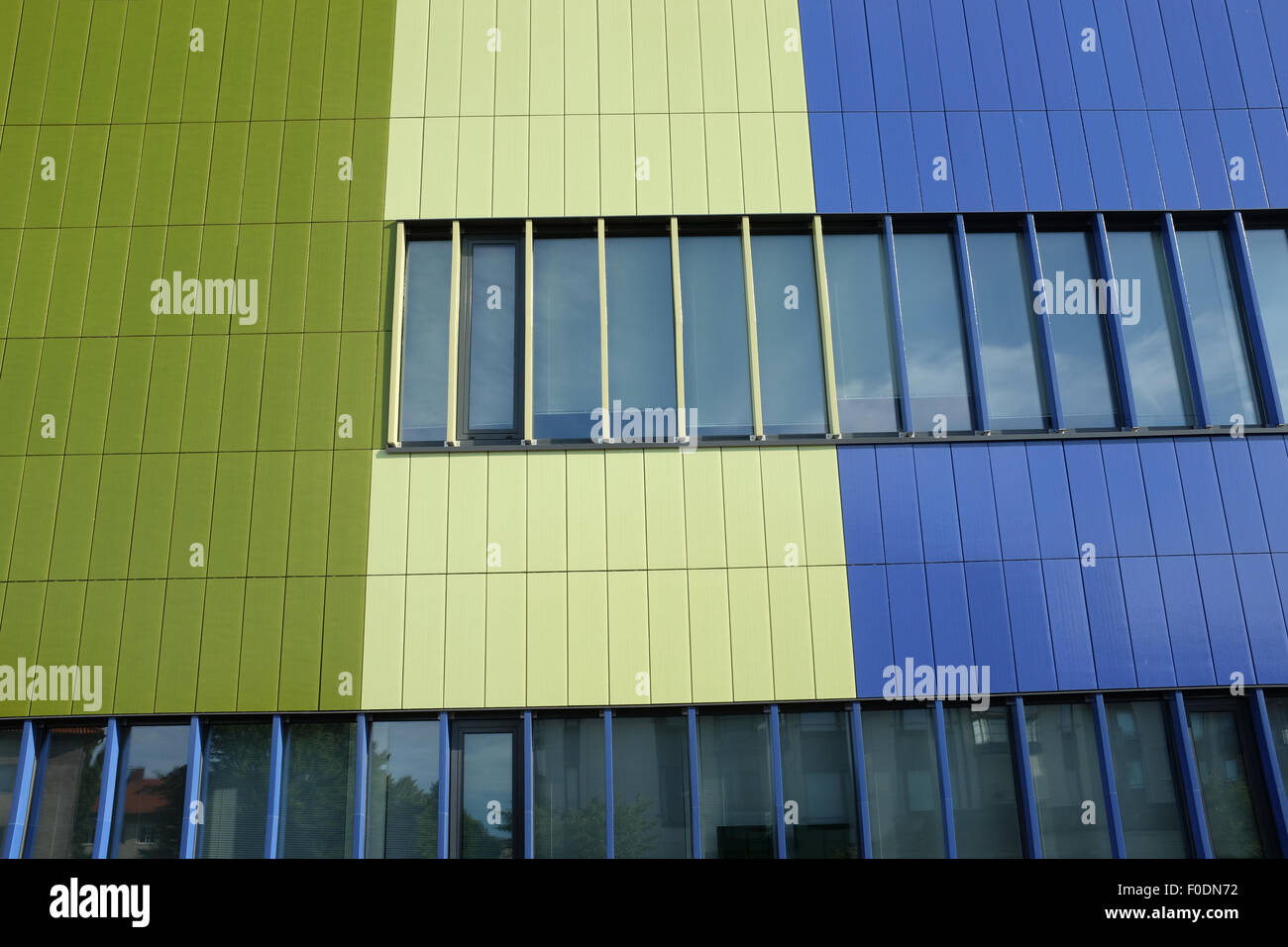 Wall of modern building blue and green color Stock Photo: 86353878 ...