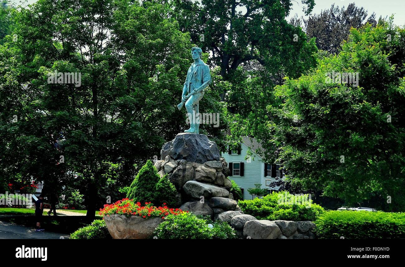 Lexington, Massachusetts:  Henry Hudson Kitson's famed Minuteman statue depicting Captain John Parker on the Village Green * Stock Photo