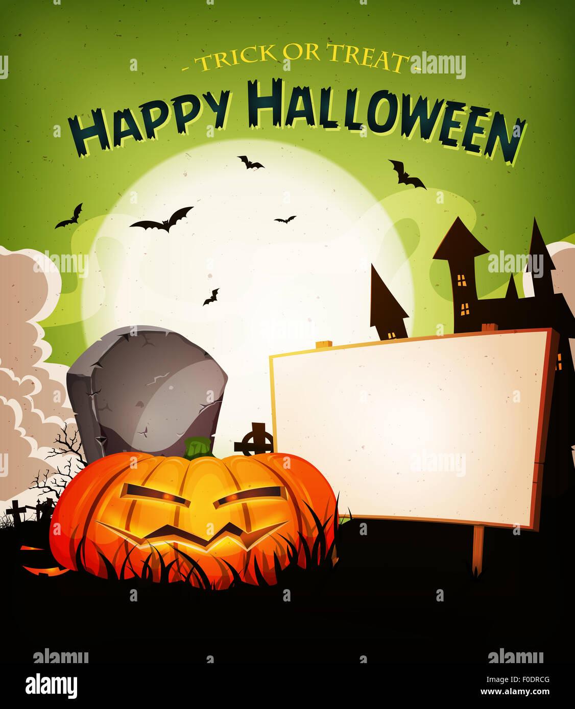illustration of a cartoon funny halloween holidays spooky horror