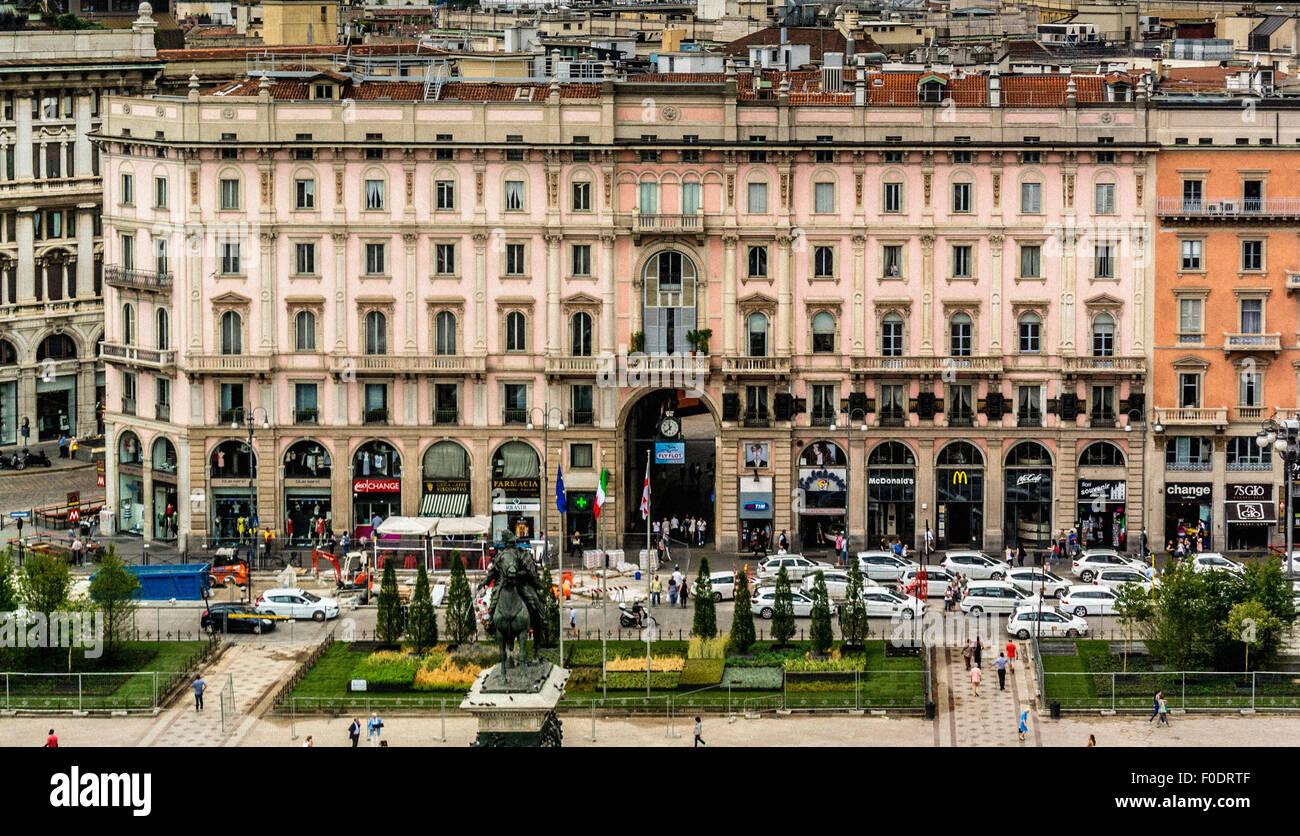 Aerial view of Piazza del Duomo. Milan Italy - Stock Image