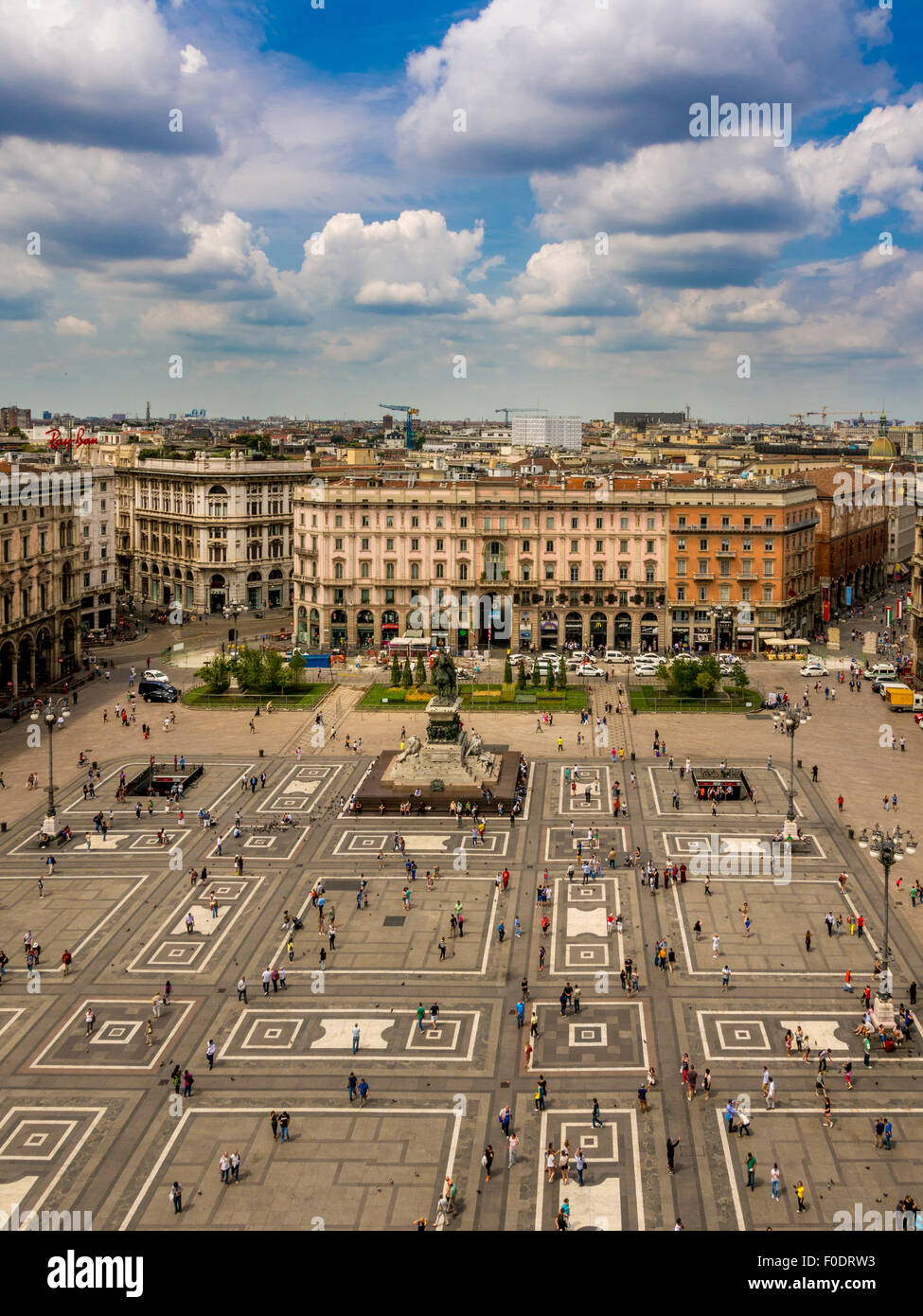 Aerial view of Piazza del Duomo and  King Victor Emmanuel II statue. Milan, Italy - Stock Image